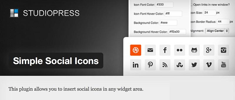 Simple SocialIcons: один из самых популярнов плагинов от StudioPress, скачан более 100,000 раз